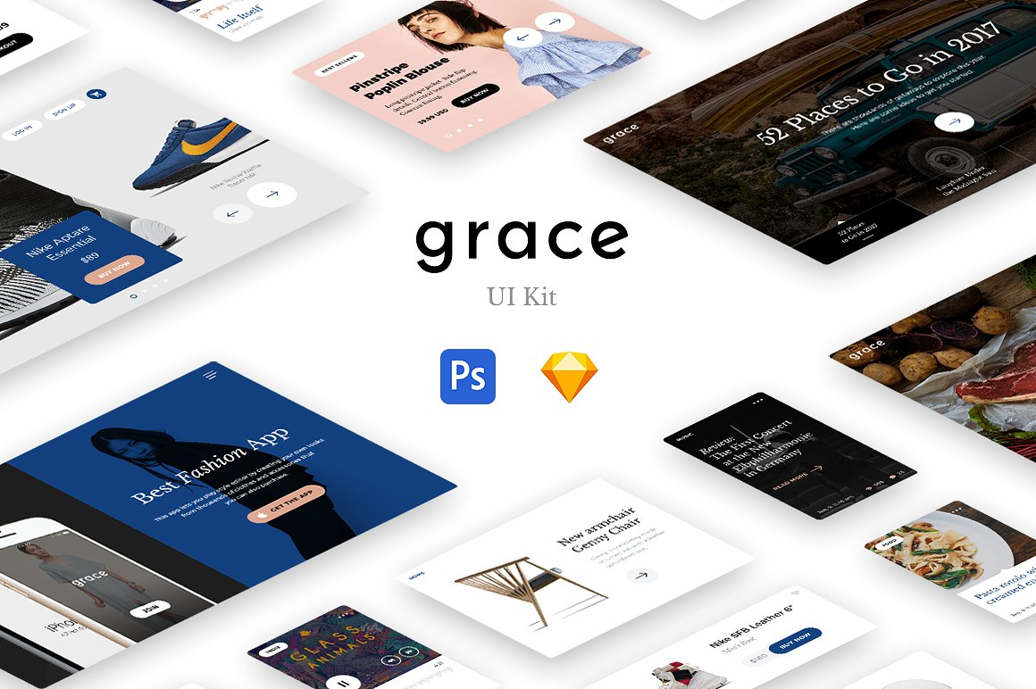 dc3ef62b27 Grace UI Kit UI Elements Big Screenshot