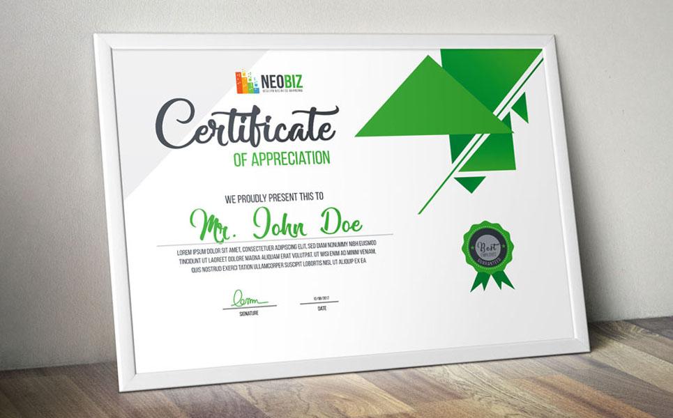 Neobiz Modern Certificate Certificate Template 68873