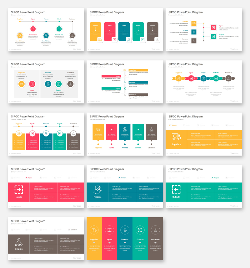 SIPOC Diagrams Pack PowerPoint Template