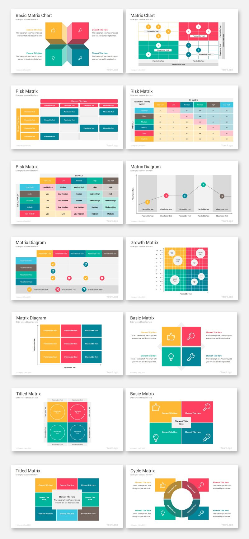 Matrix Diagrams Pack PowerPoint Template