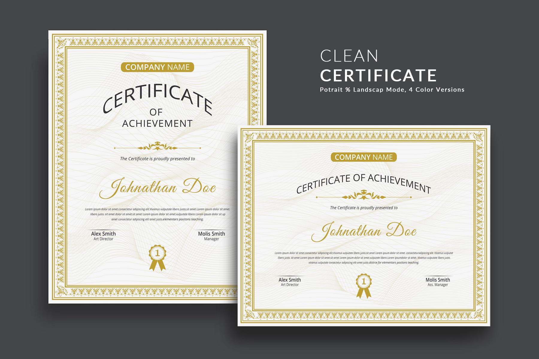 clean certificate template  76463