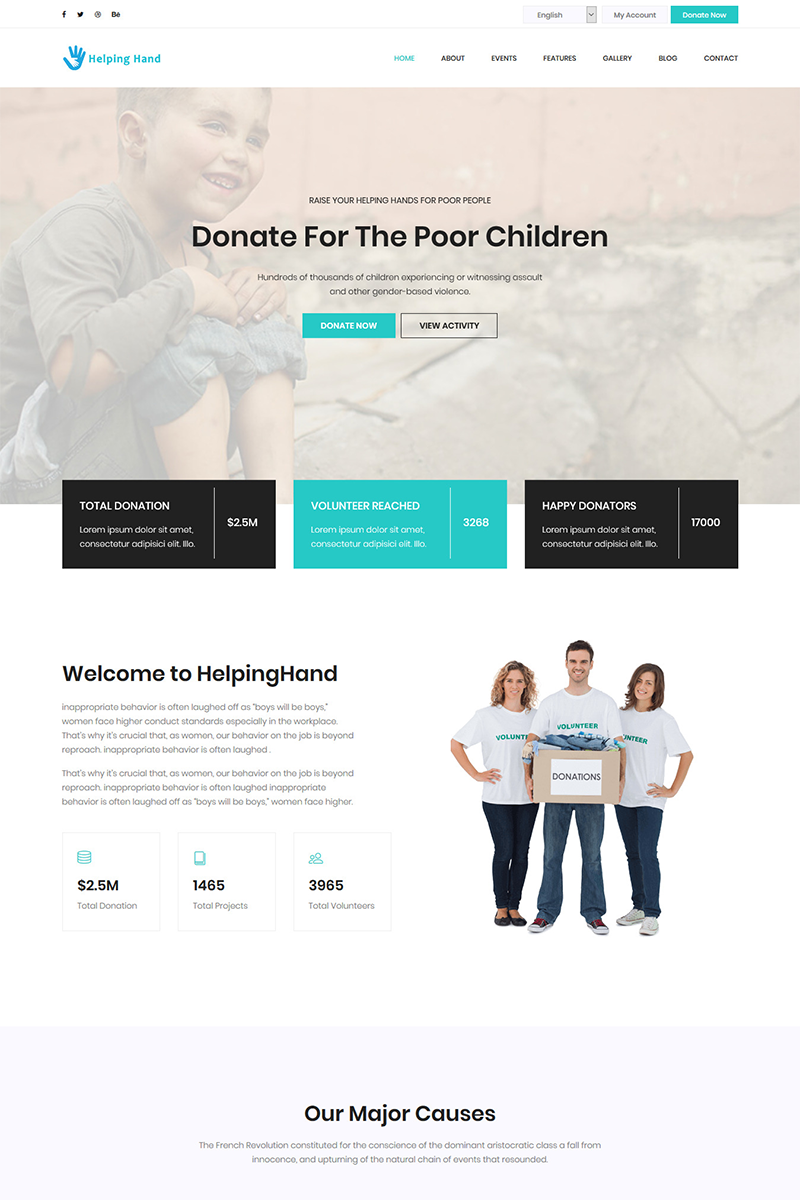 helpinghand charity donation html5 landing page template 72051
