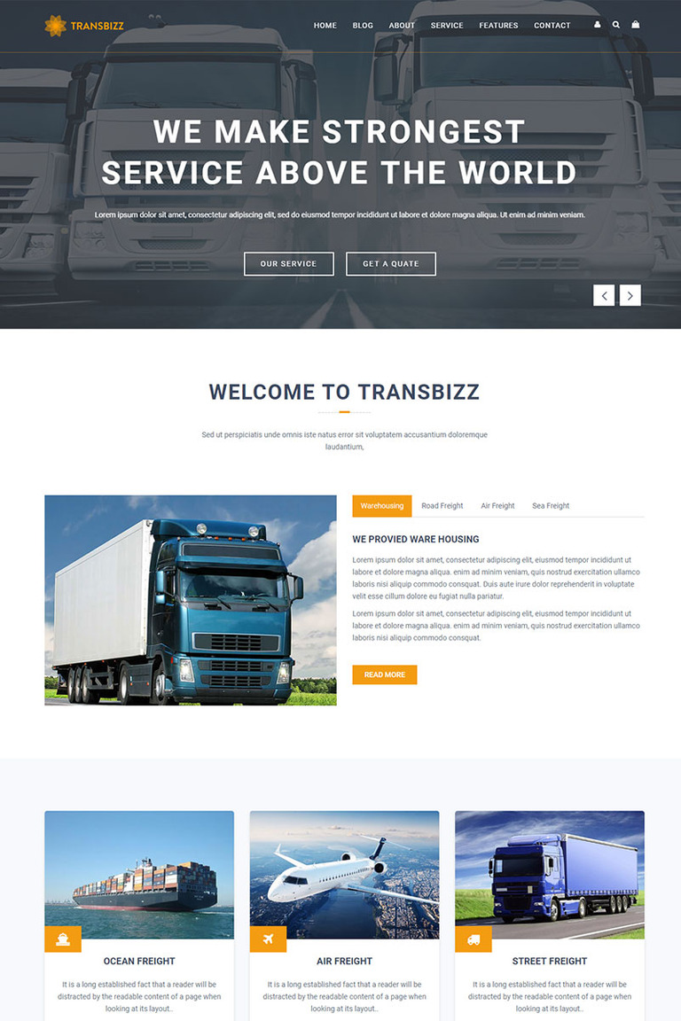 Transbizz Transport Logistic Warehouse Html5 Landing Page