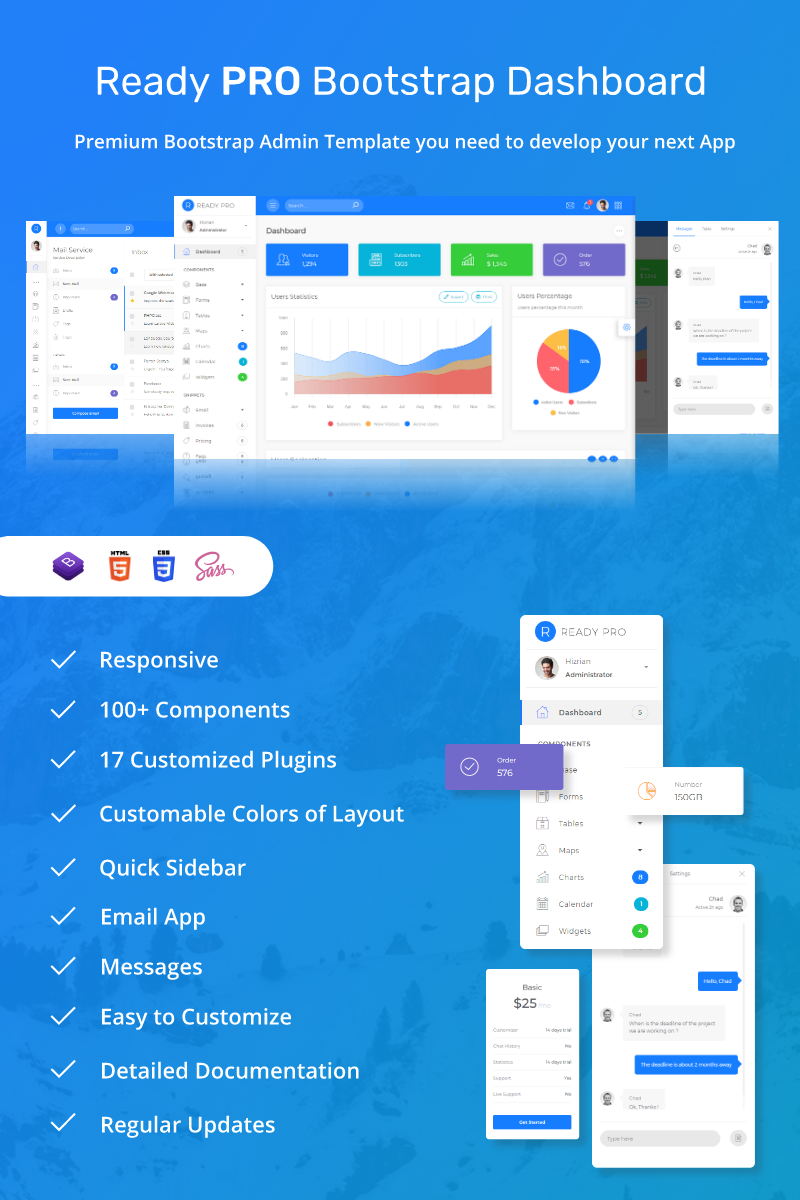 Ready Pro Bootstrap Dashboard Admin Template #68899