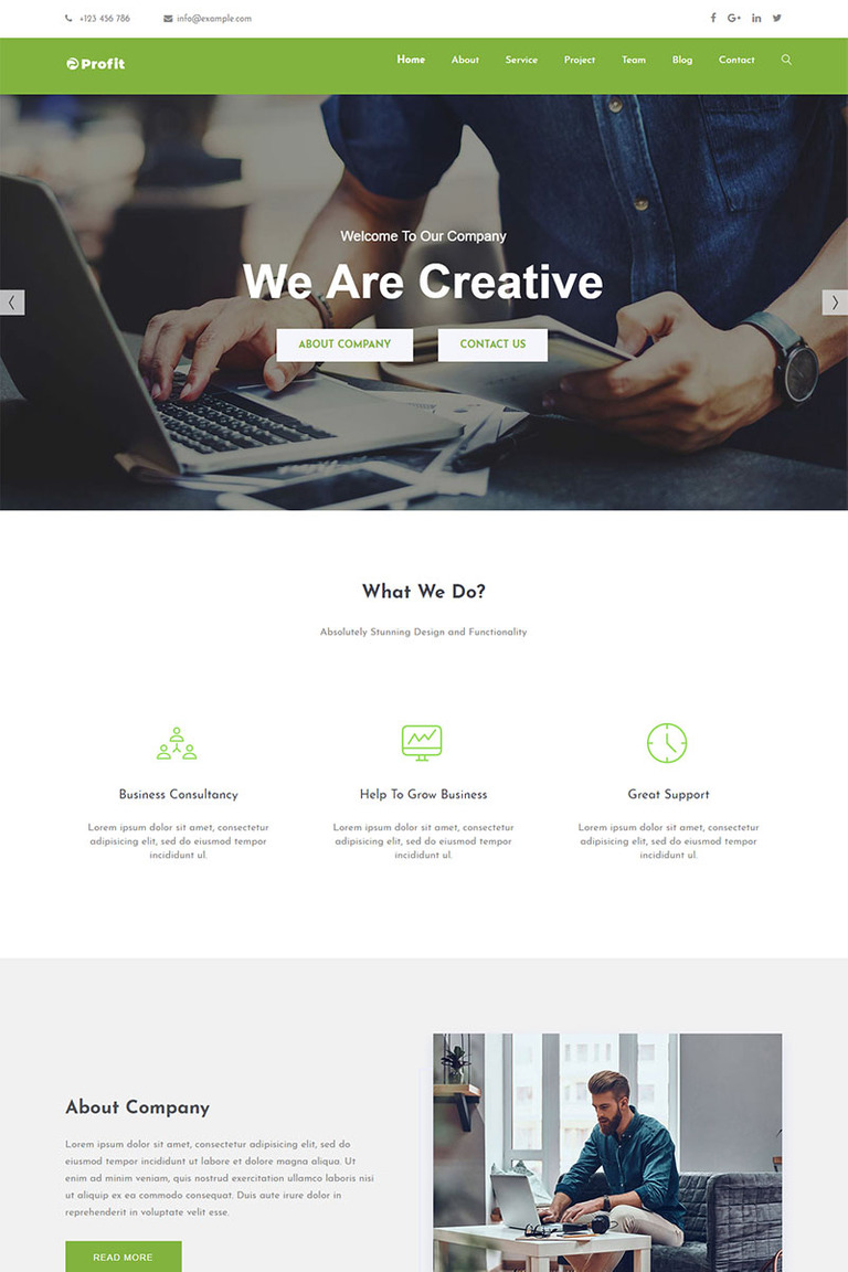 Profit Parallax Landing Page Template Screenshot