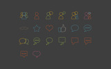 20 Social Communication Outline Style Iconset Template