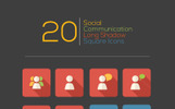 Social Communication Long Shadow Square Iconset Template