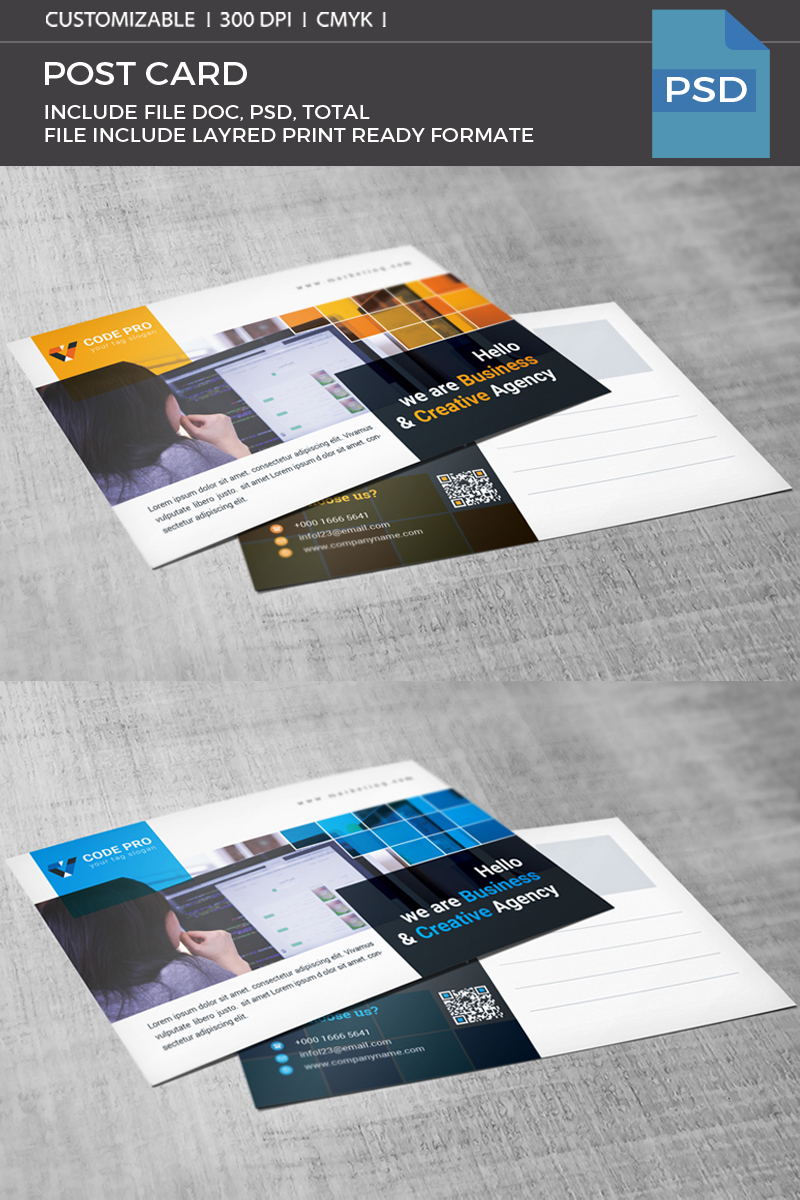 Creative Agency Postcard Corporate Identity Template #69361