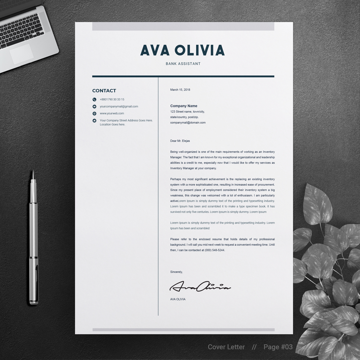 Ava Oliva Bank  Finance Resume Template