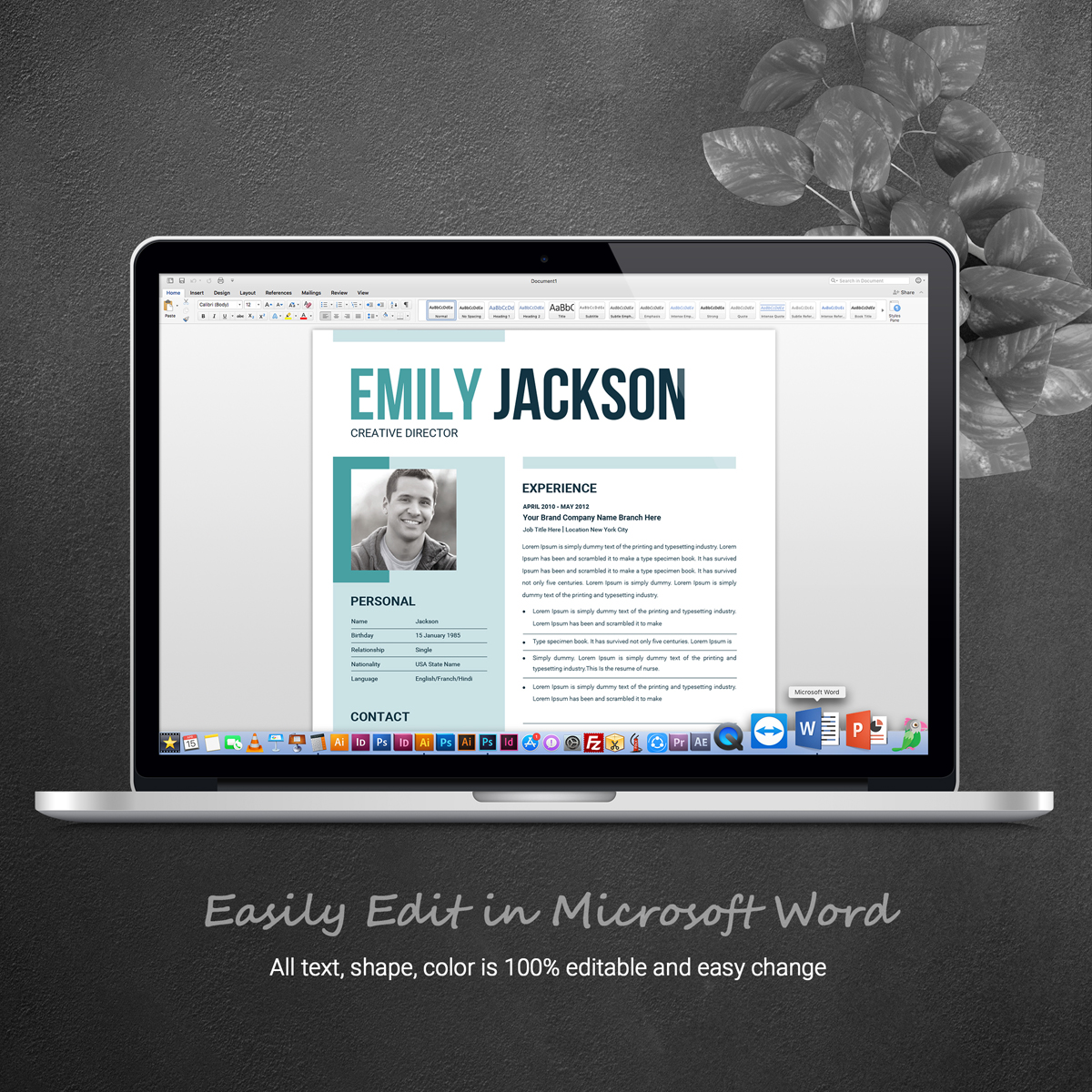Emily Jacsion Word Resume Template #71440