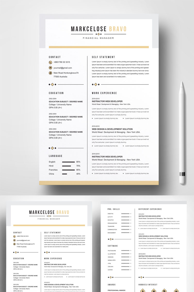 Clean & Creative Resume Template #73586