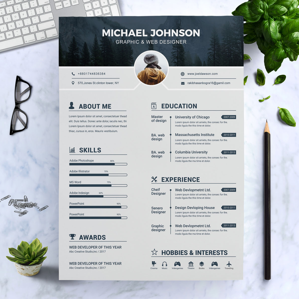 johnson graphic designer resume template  73845