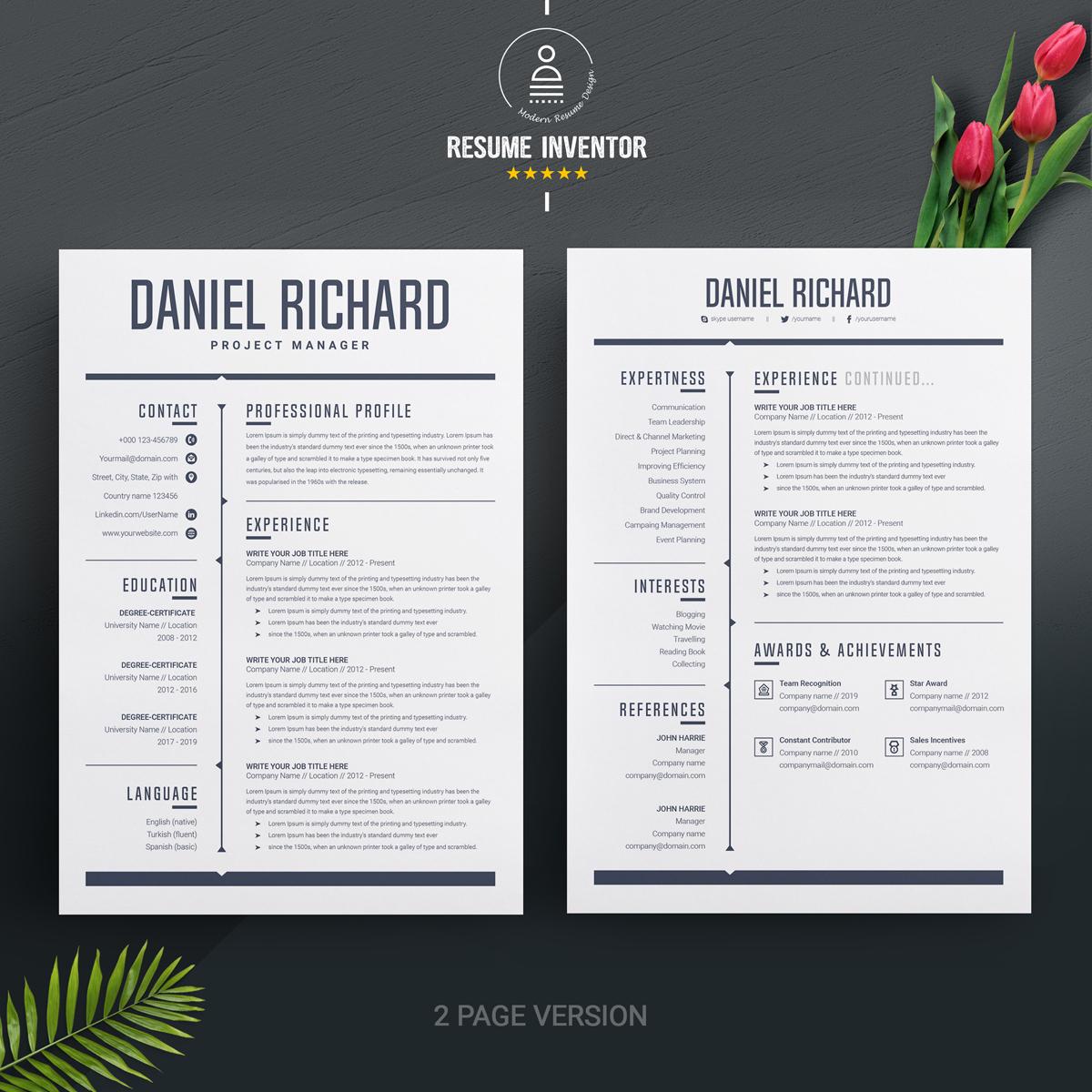 daniel resume template  74466