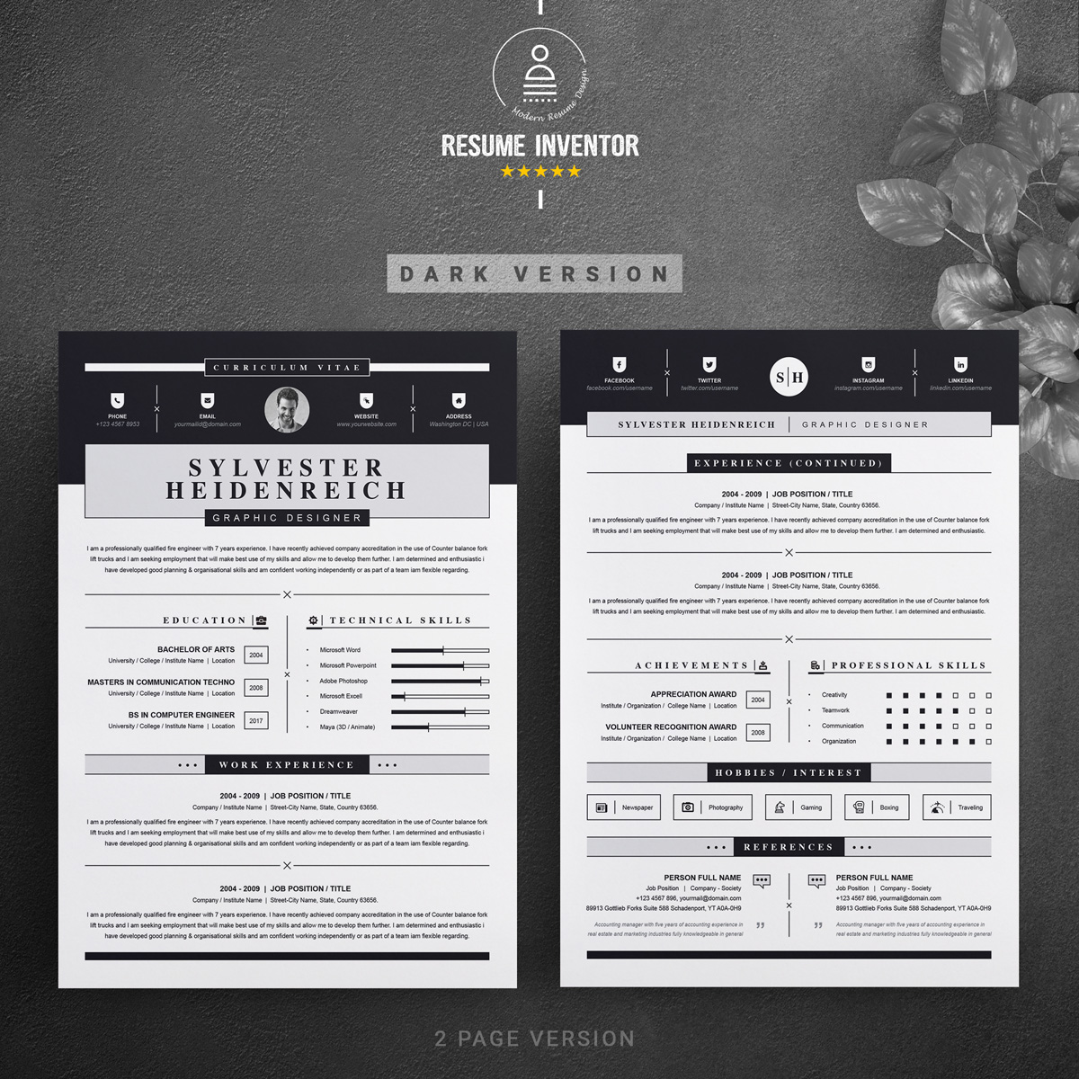 Sylvester Resume Template #75222
