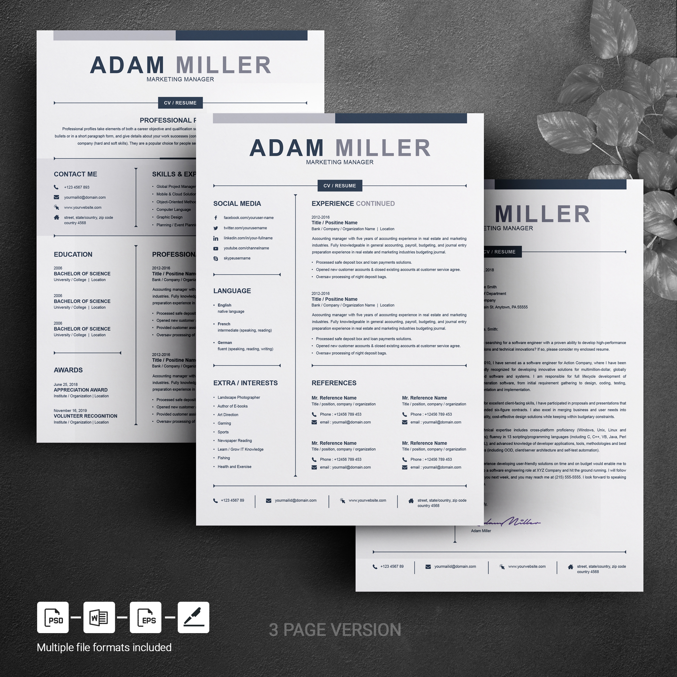 adam miller clean  u0026 creative resume template  76023
