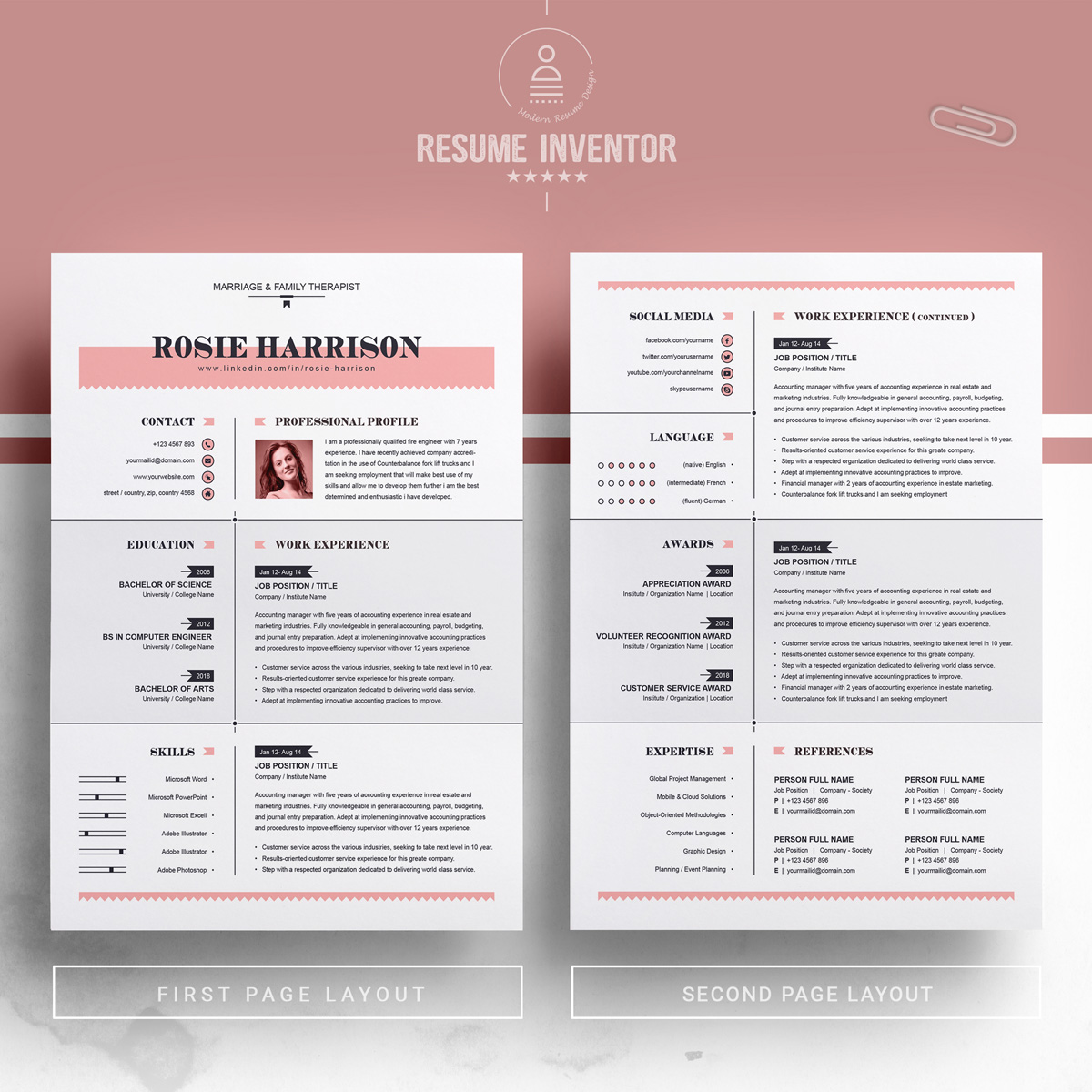 rose resume template  76563
