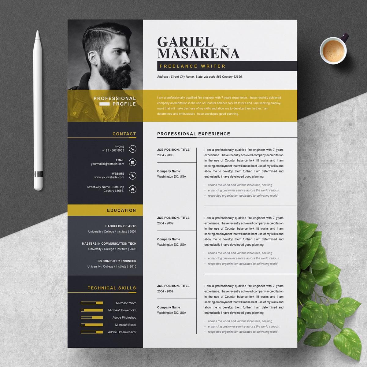 gariel masarena resume template  76948