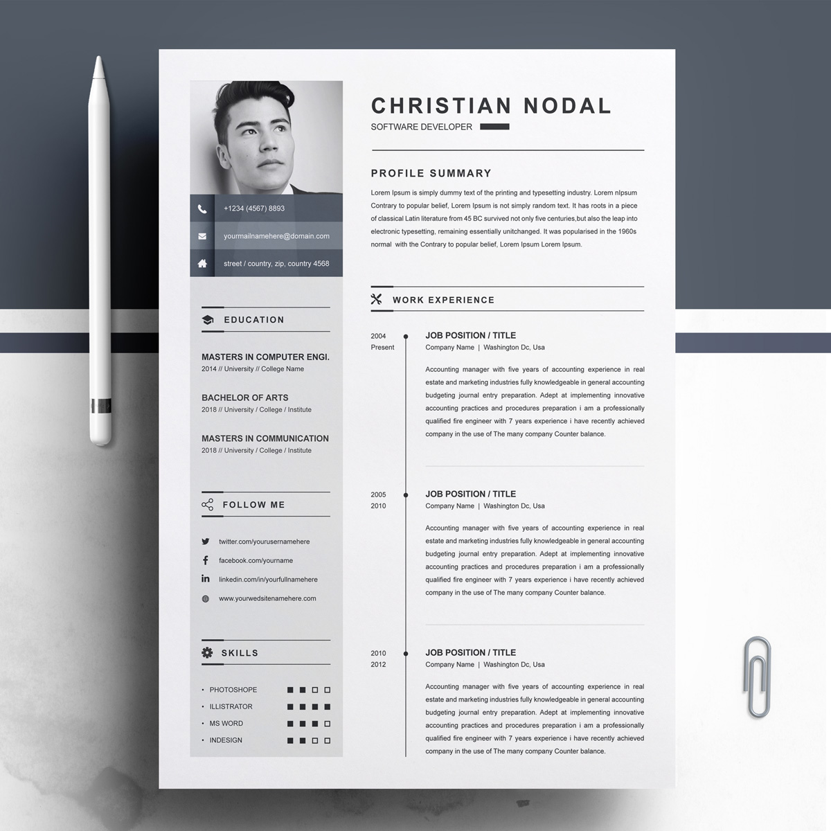 christian resume template  79231