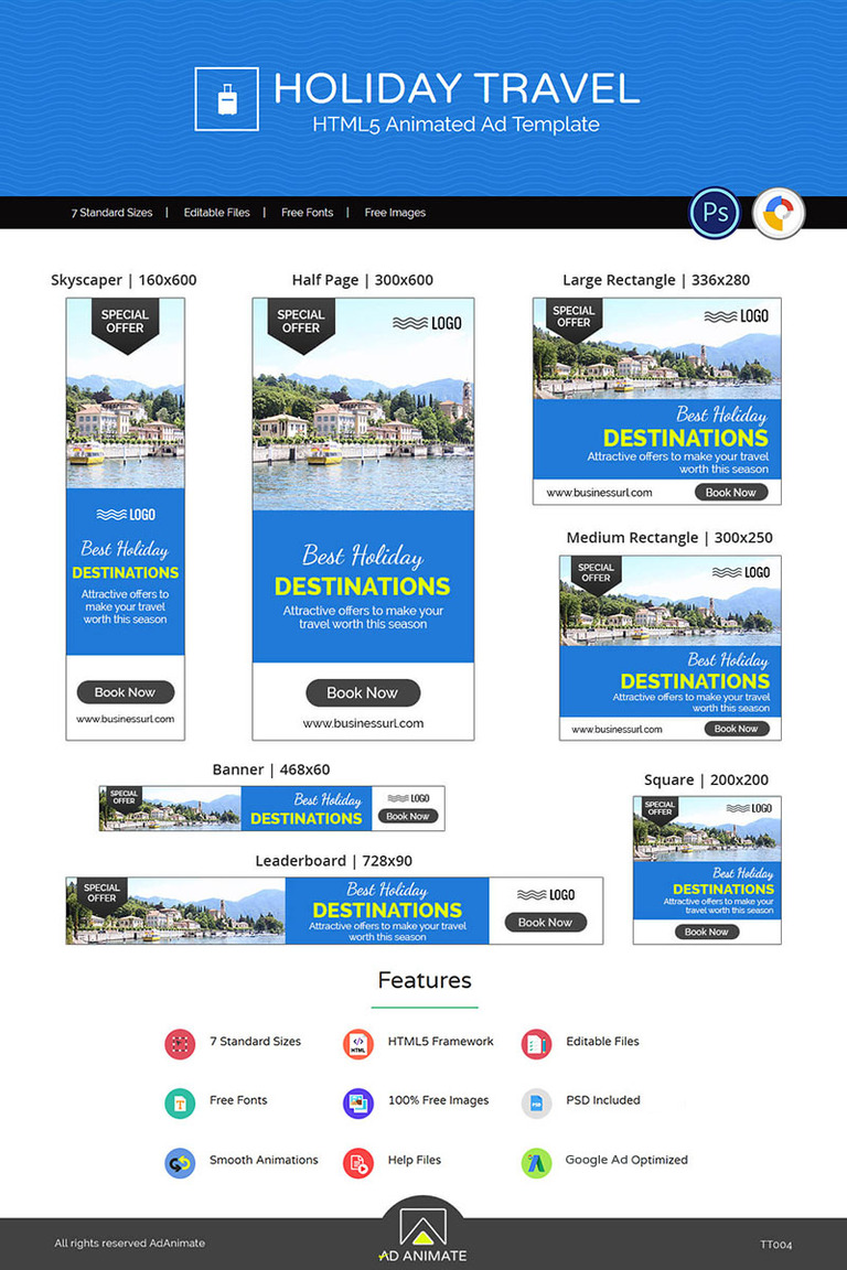 tour travel holiday travel banner ad templates animated banner