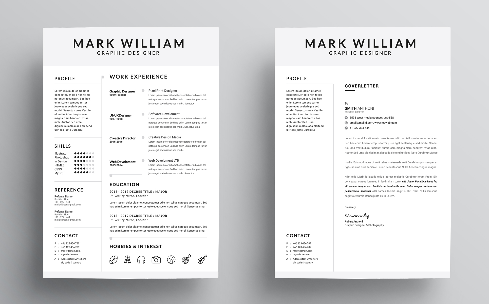 mark william cv   resume template  73800