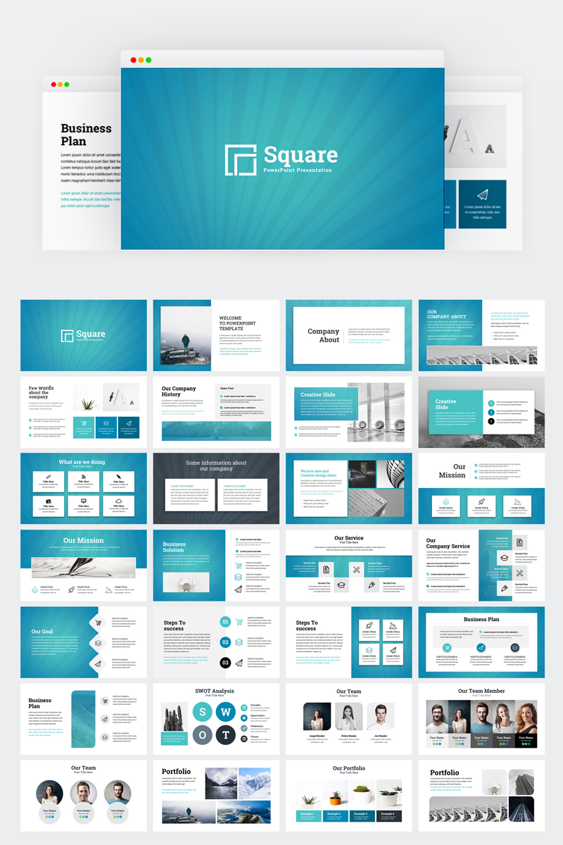 square - creative modern business plan powerpoint template #75229