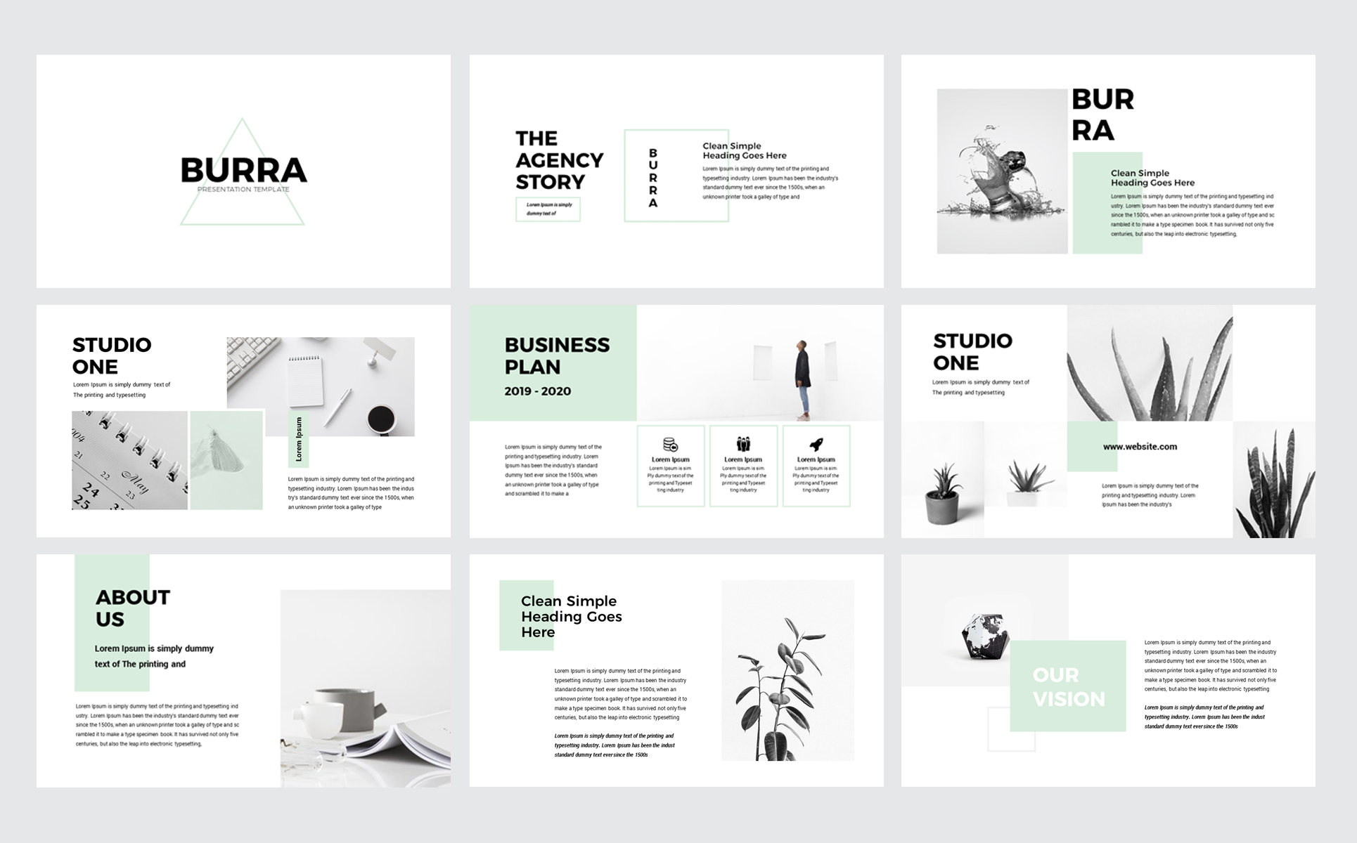 burra clean simple presentation powerpoint template  78696