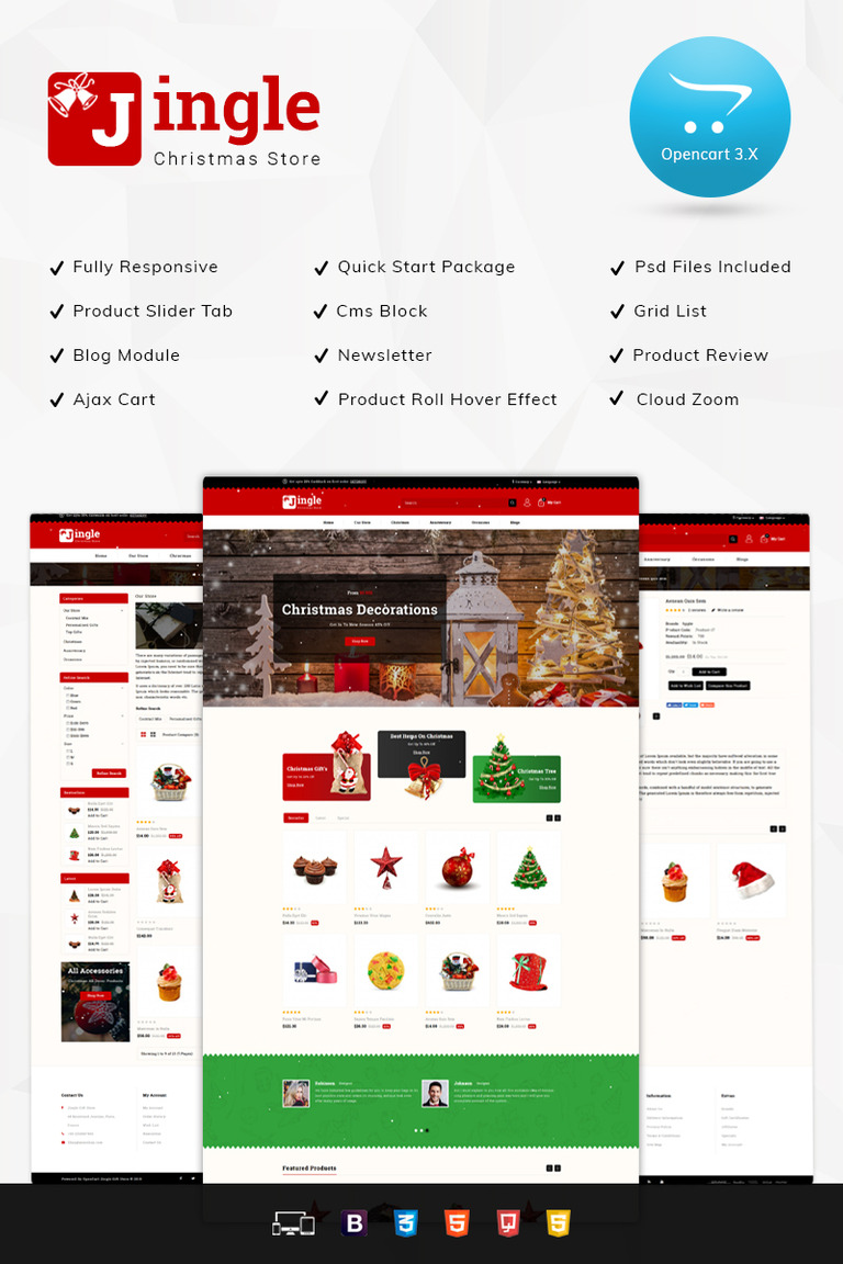Jingle Gift Store 3 x OpenCart Template #76844