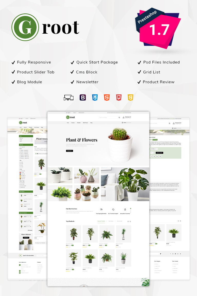 Groot Nursery Store PrestaShop Theme #77421