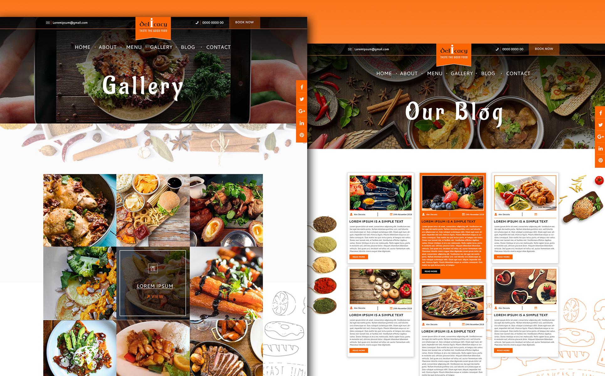 Plantilla para psd - Categoría: Cafés y restaurantes - versión para Desktop