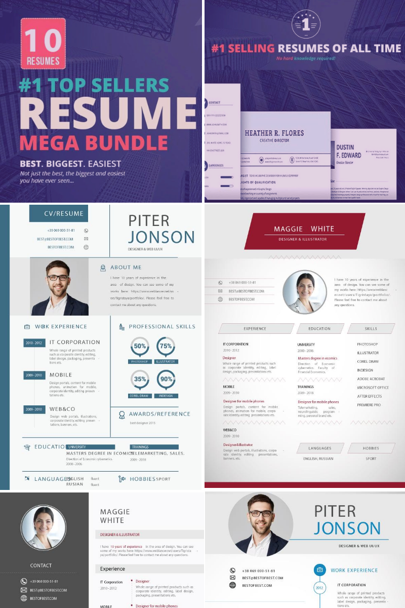 Top Selling Resume/CV Bundle: 10 Templates Bundle #73764
