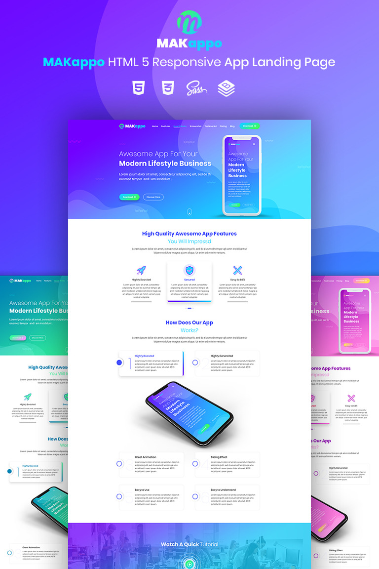MAKappo - App Landing Page Template #73811