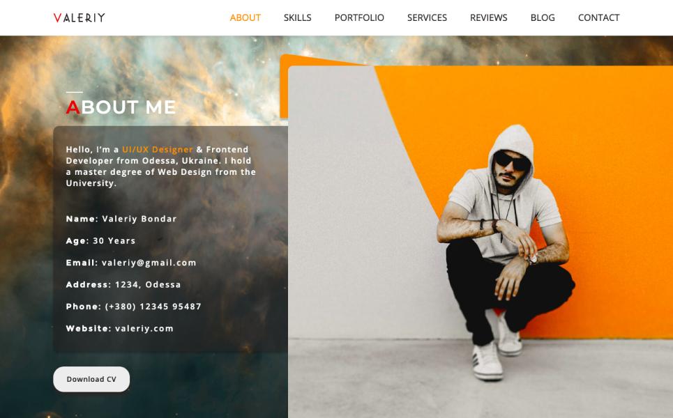 Valeriy | Personal Multi - Purpose Landing Page Template