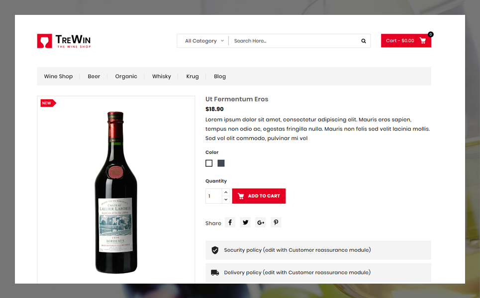 Trewin Wine Store Theme PrestaShop Theme