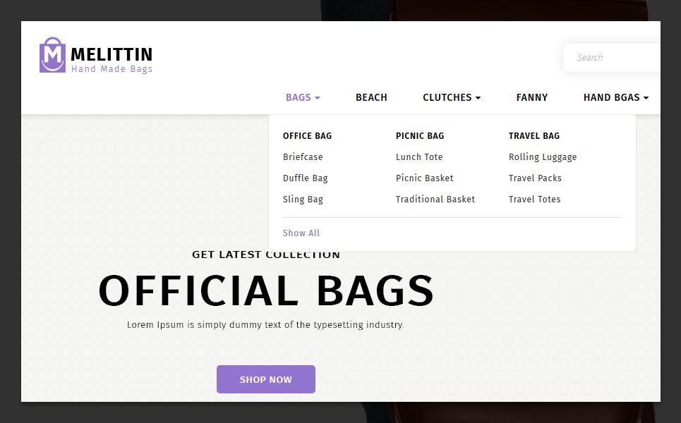 Melittin - Bag Store OpenCart Template