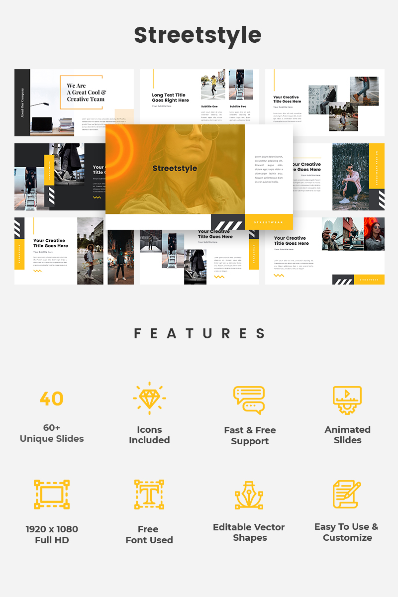 Streetstyle Street Fashion PowerPoint Template #79696