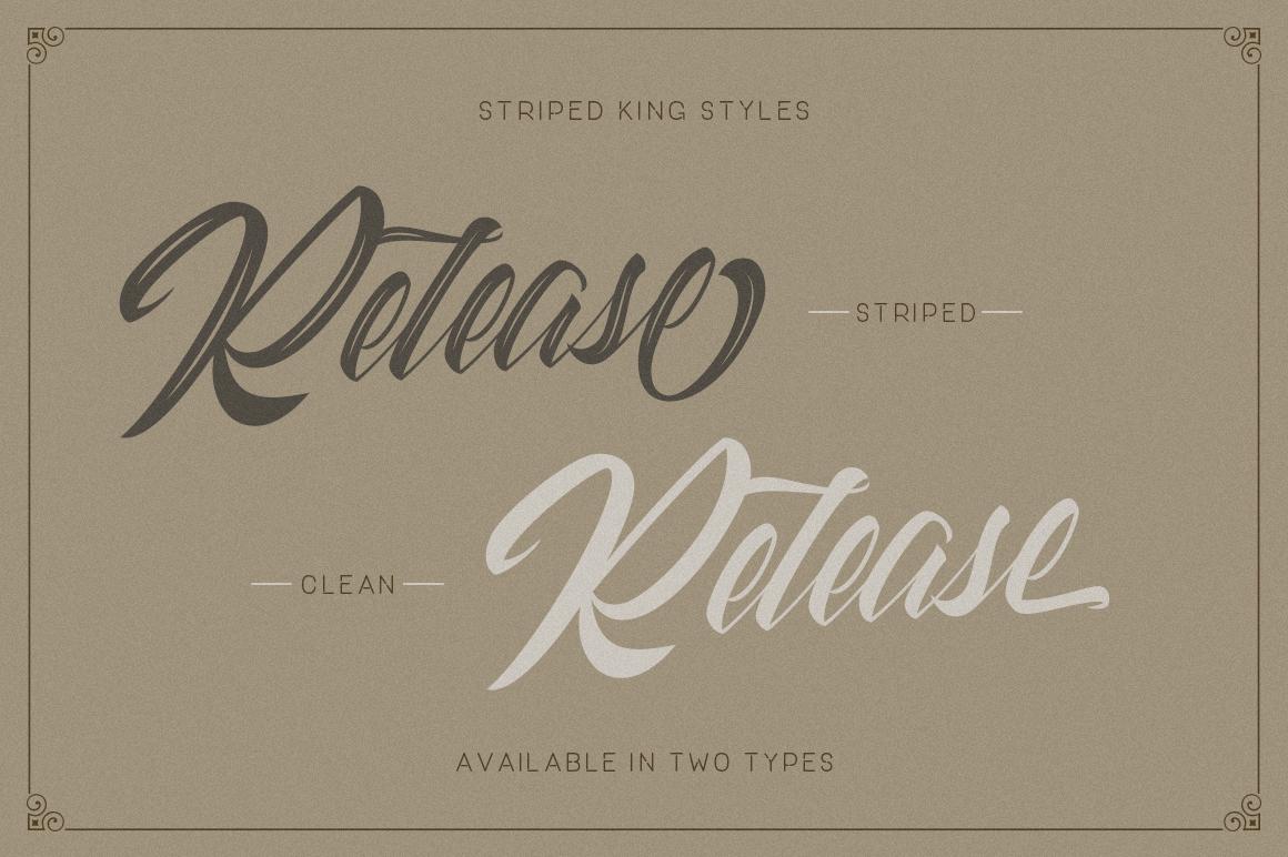 Striped King Vintage Script Font #76419