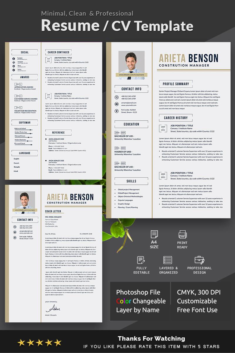 arieta benson resume template  78249