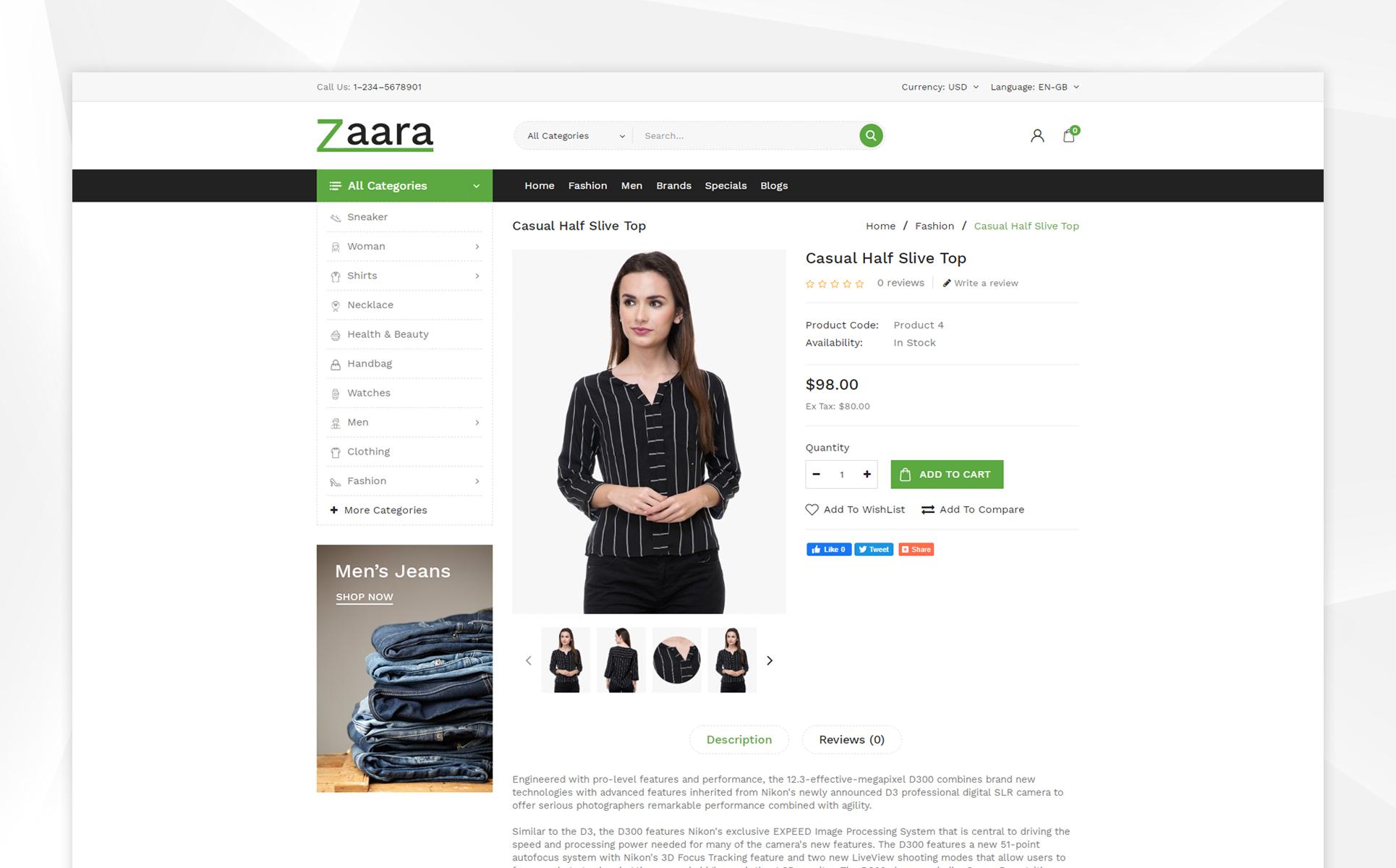 Zaara - Fashion Store OpenCart Template