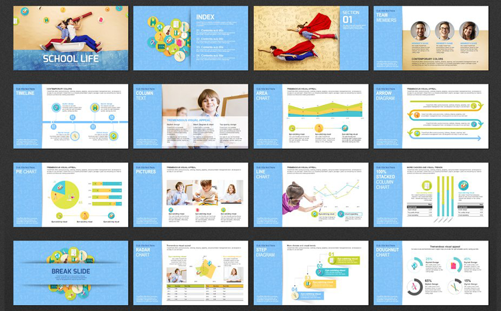 School Life PPT PowerPoint Template