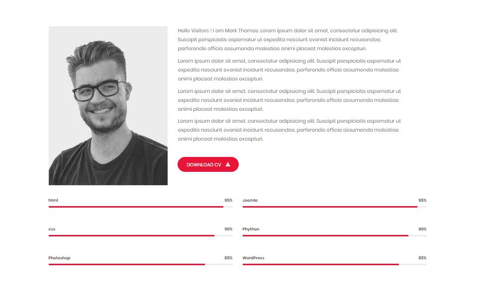 Mark Thomas - Personal Portfolio HTML Landing Page Template
