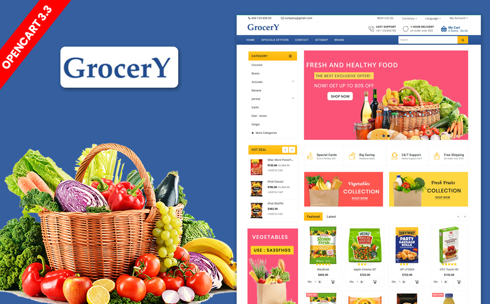 Grocery Organic Farm and Food Responsive Theme OpenCart Template