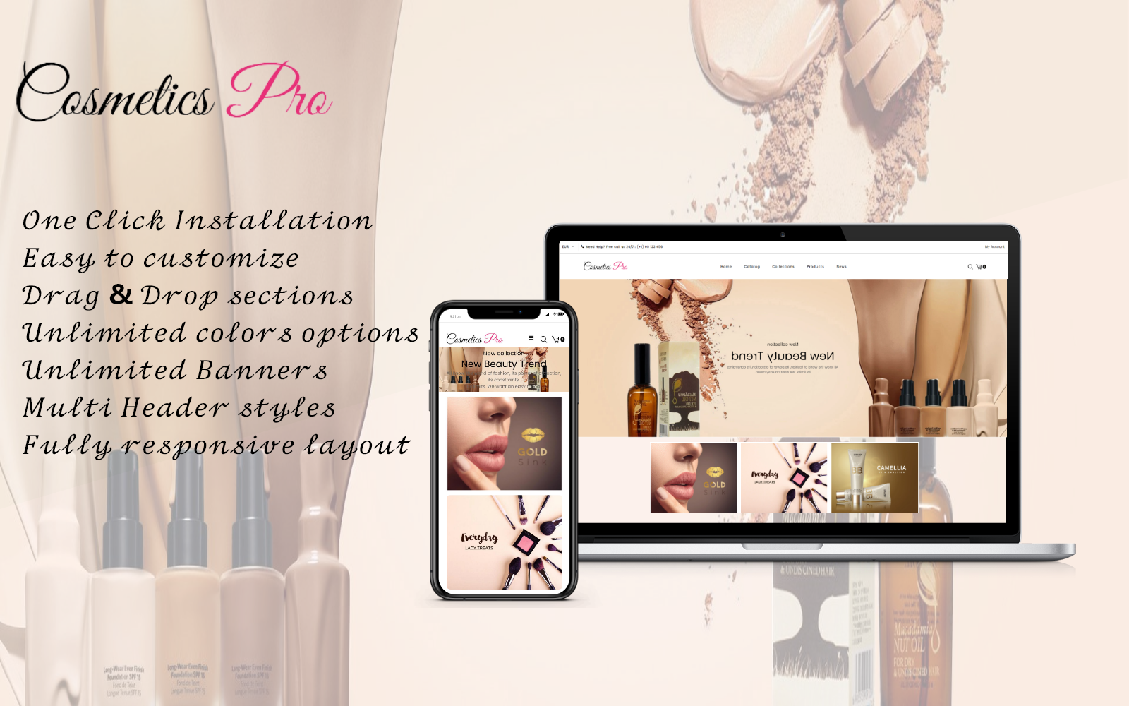 Cosmetic pro - Cosmetic eСommerce Clean Shopify Theme