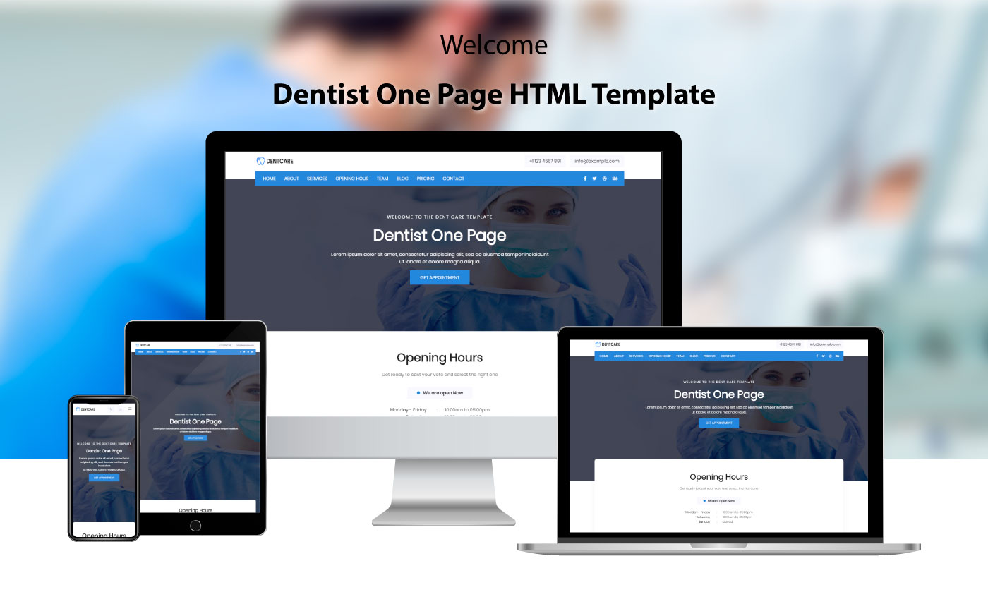 Dent Care - Dentist HTML5 Landing Page Template