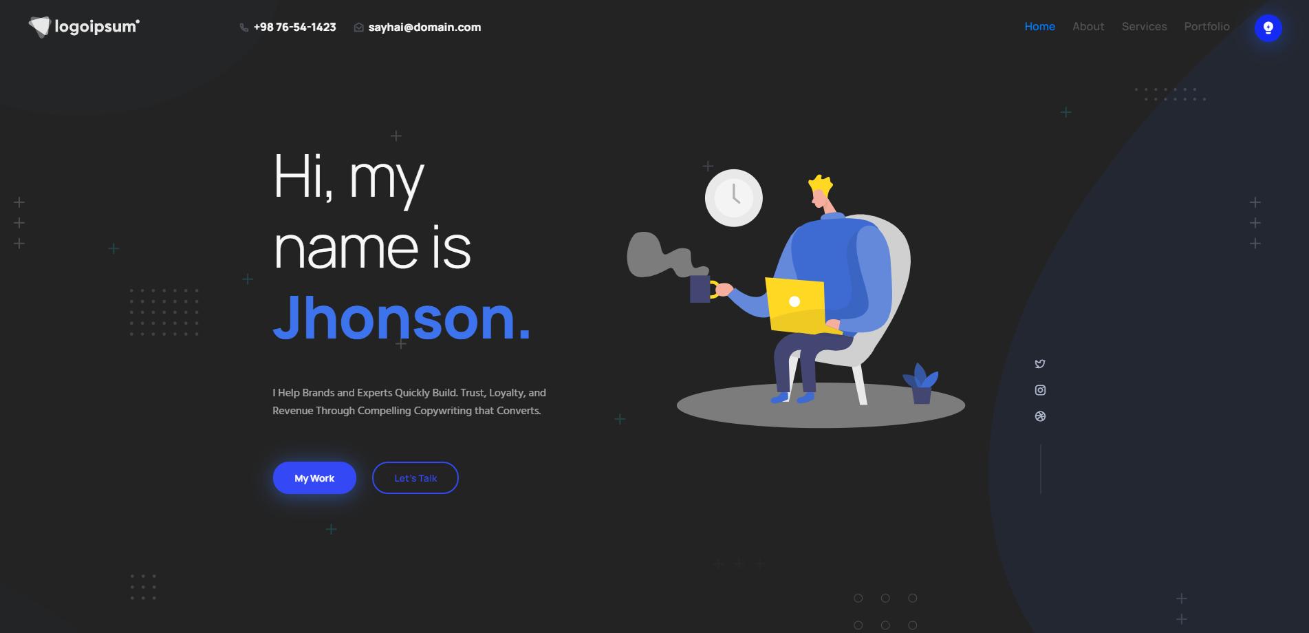 Aqous - Responsive Resume & Personal Portfolio Landing Page Template