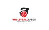 Volleyball Rabbit Logo Template