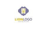 Line Lion Logo Template
