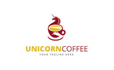 Unicorn Coffee Logo Template