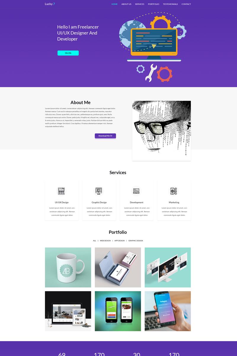 Lucky 7 Onepage Portfolio PSD Template #69725