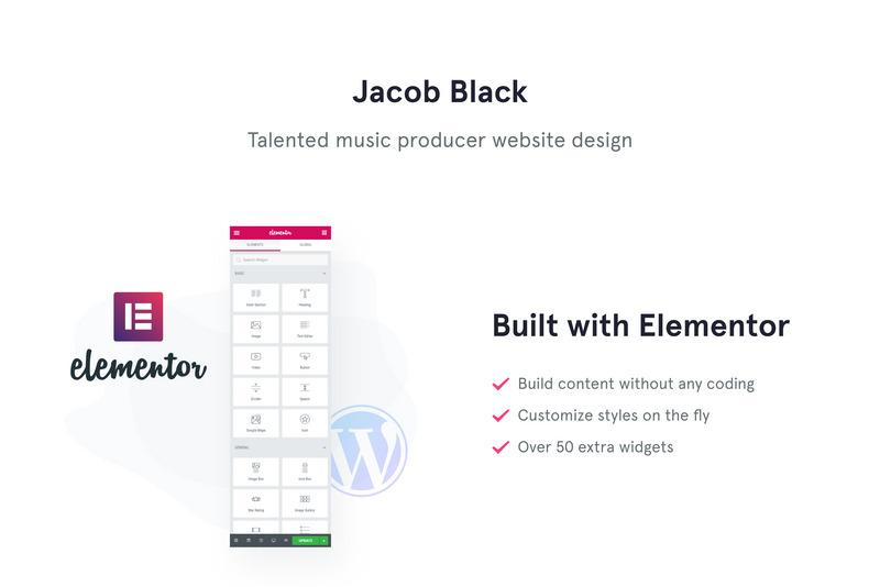 Jacob Black - Talented Music Producer Website Design WordPress Theme - Features Image 1