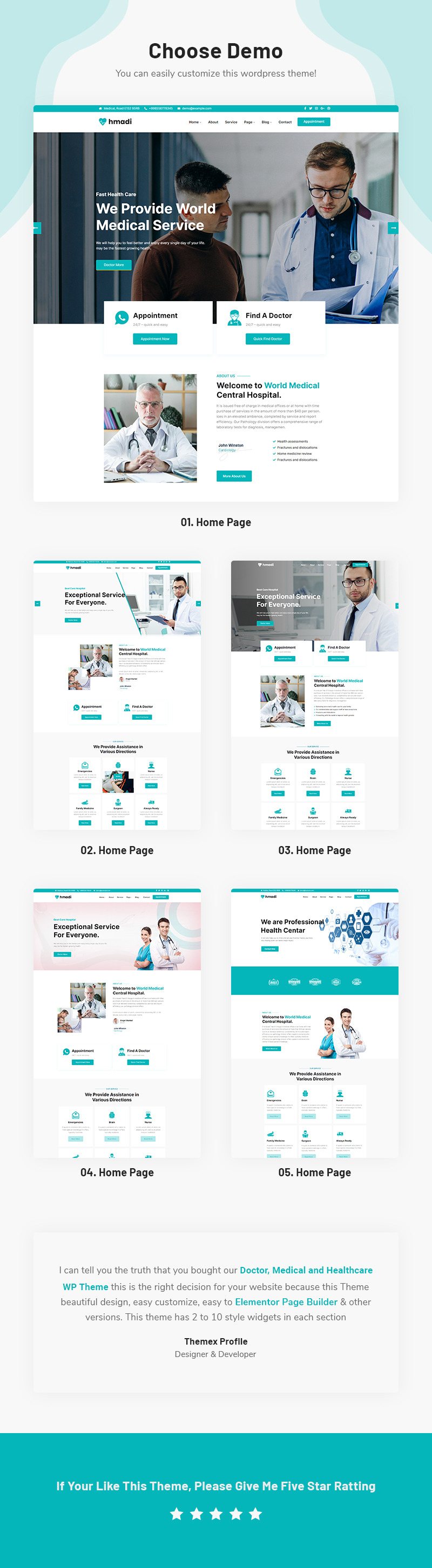Hmadi - Doctor, Medical And Healthcare WordPress Theme - Features Image 1